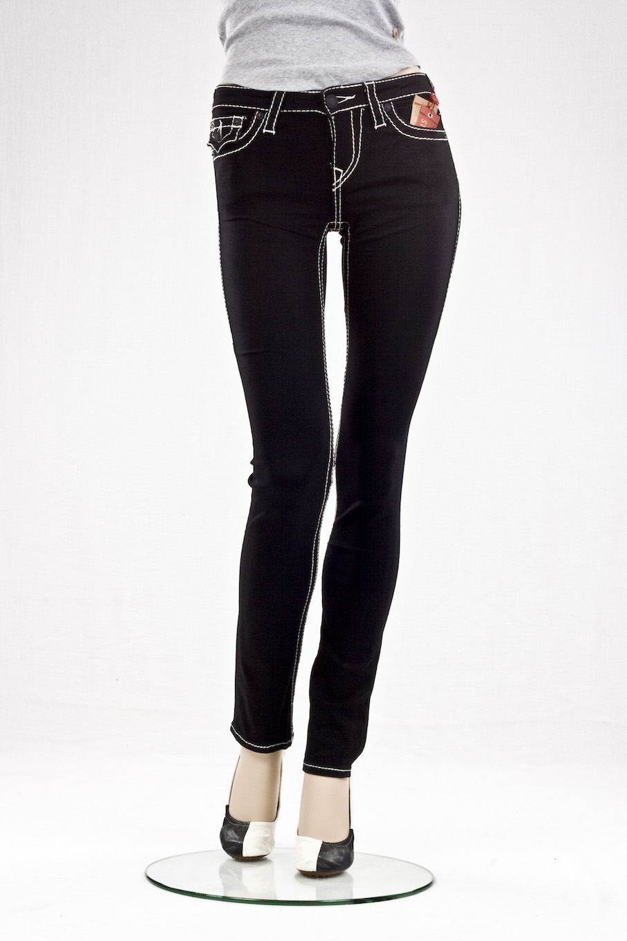 "Женские джинсы True Religion ""Скинни"" slim straight w flaps nat big t black интернет-магазин Fashion Jeans"