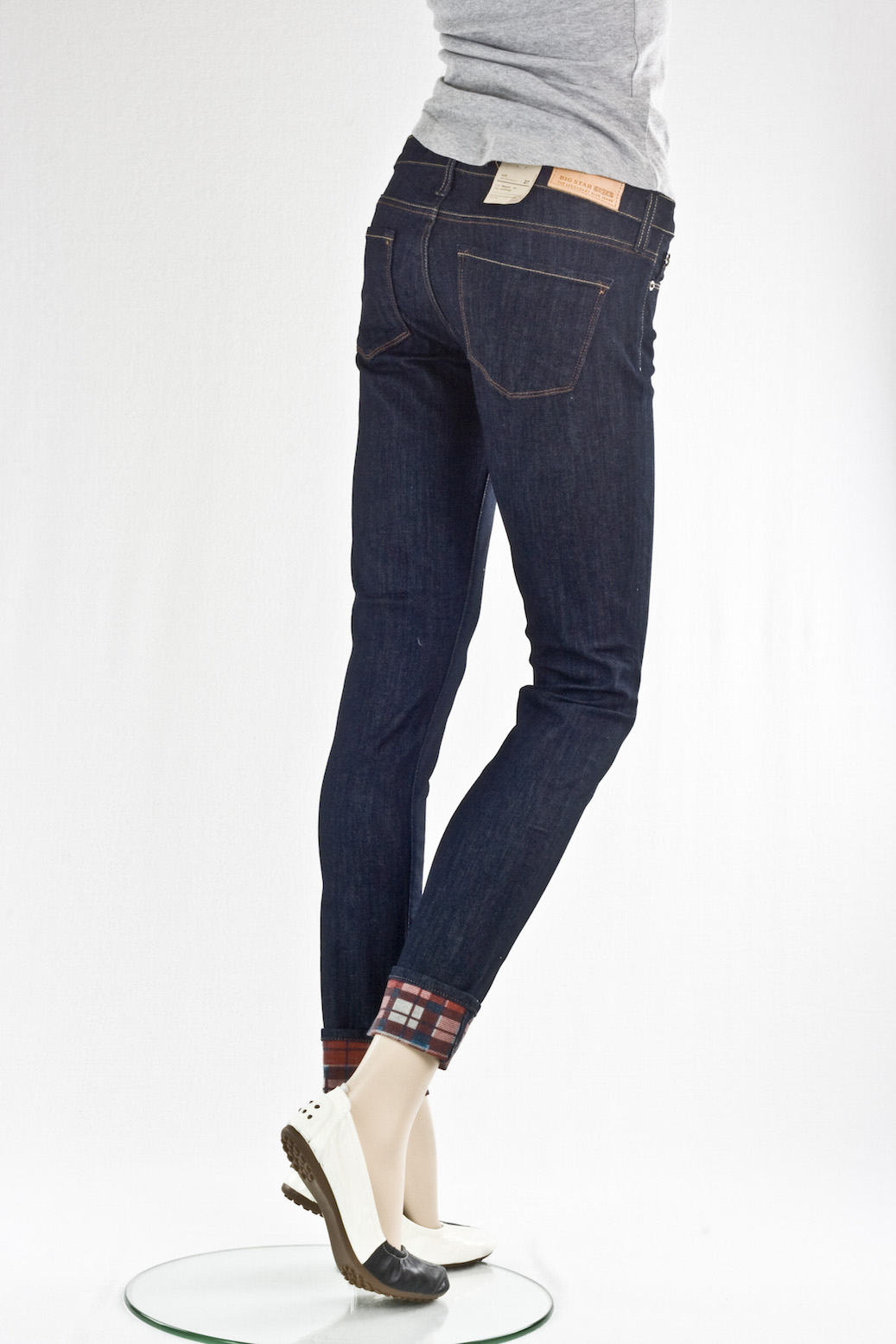 """Скини"" Alex skinny jean w/plaid cuf"
